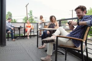 Freelancers coworking outside in Chicago's Logan Square neighborhood